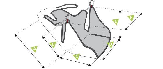 Размеры подвесной системы Sup Air Walibi 2 для пилота тандемного параплана